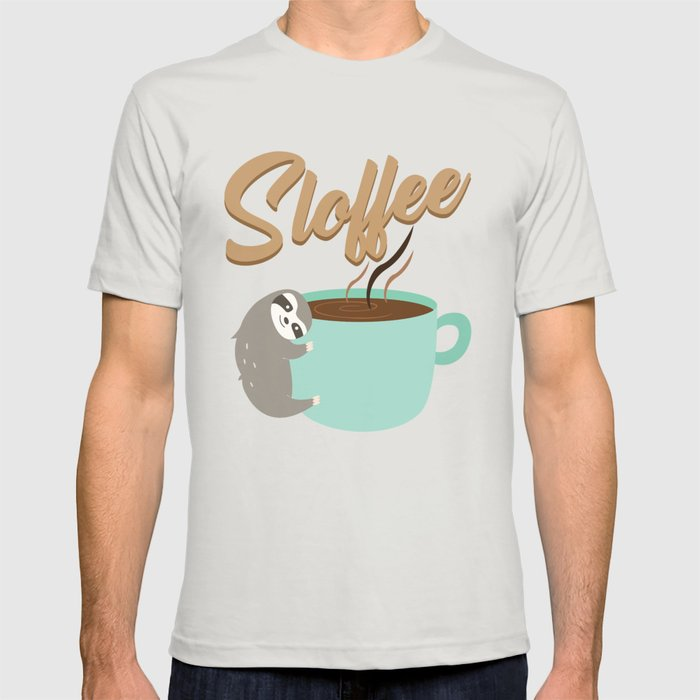 Sloffee | Coffee Sloth Graphic T-shirt by Anziehend - Silver - SMALL - Mens Fitted Tee