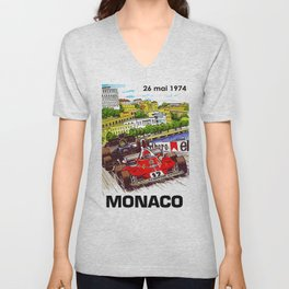 1974 Monaco Grand Prix Racing Poster Unisex V-Neck