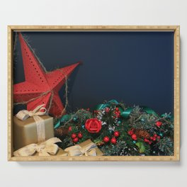 The Feeling Of Christmas, Beautiful Festive December Background Serving Tray