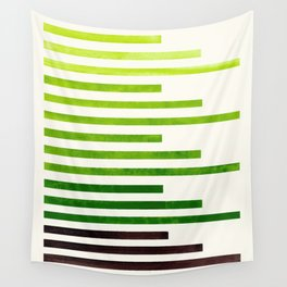 Sap Green Minimalist Abstract Mid Century Modern Staggered Thin Stripes Watercolor Painting Wall Tapestry