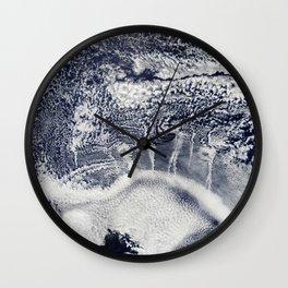 Indigo Navy Blue and White Abstract Wall Clock