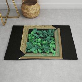 Greens in Frame minimalist surreal vines Rug