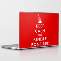 kindle Laptop & iPad Skins featuring Keep Calm & Kindle Bonfires by Zach Shonkwiler