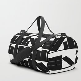 Library Book Shelves, black and white Duffle Bag