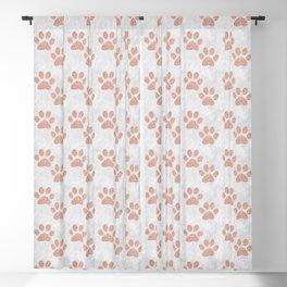 Rose Gold Paw Print Pattern Blackout Curtain
