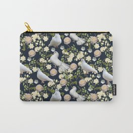 White Doves and Roses Carry-All Pouch