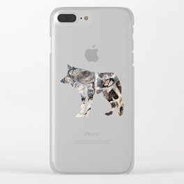 Gray Abstract Fluid Art Wolf Image Clear iPhone Case