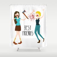 best friends Shower Curtains featuring Best Friends by flydesign