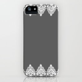 White Vintage Lace Gray Background iPhone Case