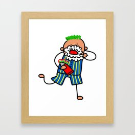 Brushing Teeth Boy Framed Art Print