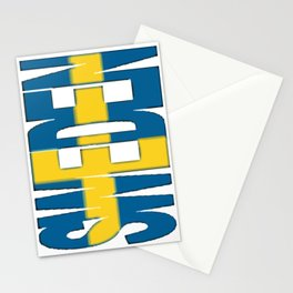 Sweden Font with Swedish Flag Stationery Cards