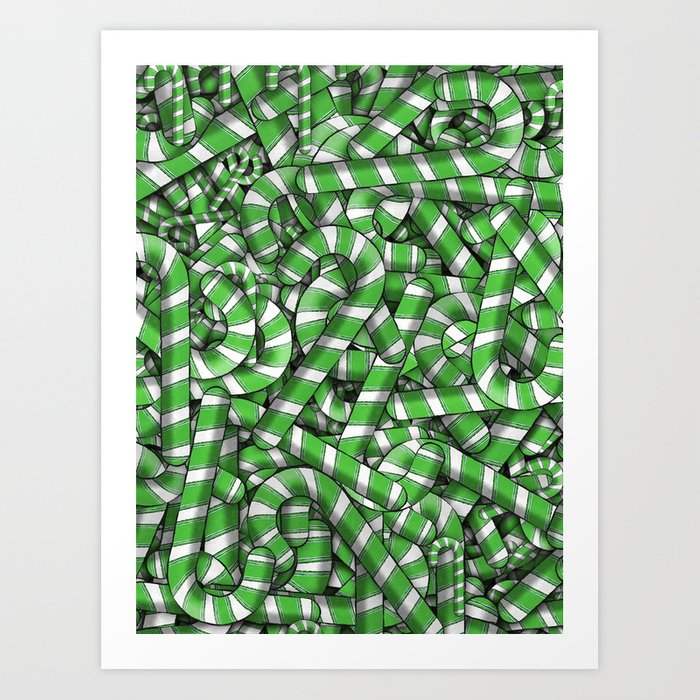 Sugar Spiral GREEN Candy Cane Christmas Design  Art Print