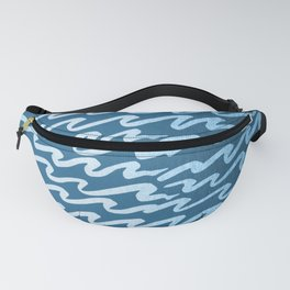 Abstract Waves - Blue Raspberry Shimmer on Saltwater Taffy Teal Fanny Pack