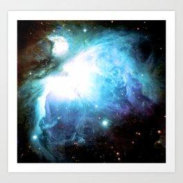Orion Nebula Aqua Periwinkle Gold Art Print