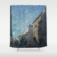 maps Shower Curtains featuring Vienna on Maps by MehrFarbeimLeben