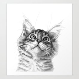 Kitten looking up G115 Art Print