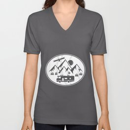 RV Motorhome in the Mountains - Hiking Holiday Unisex V-Neck