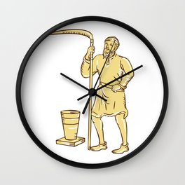 Medieval Farmer Holding Scythe Etching Wall Clock