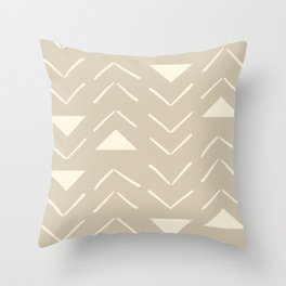 Mud Cloth Vector in Tan Throw Pillow