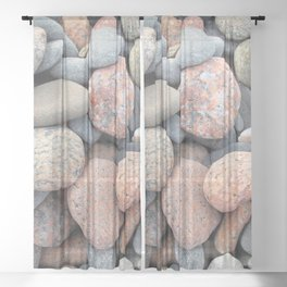 Watercolor Rock, Pebbles 05, Cape Breton, Nova Scotia, Canada, No Worries Here Sheer Curtain