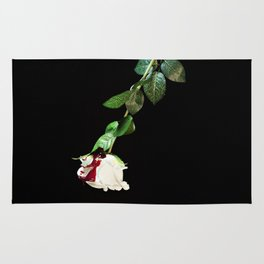 White rose covered with blood Rug