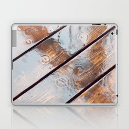 It's Raining! Beautiful Abstract Photography of Rain Falling on Redwood Deck Laptop & iPad Skin