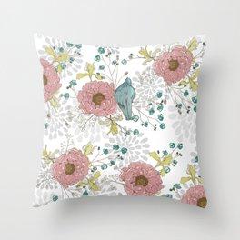 Blue Bird and Peonies Throw Pillow