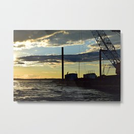 Sunset Over the Barge Metal Print