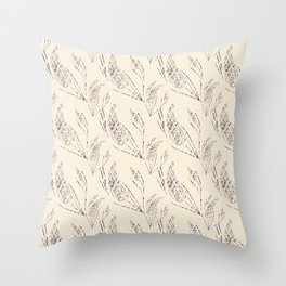 Simple floral pattern with a beige background. Throw Pillow