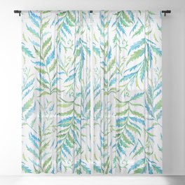 Leaves Green And Blue Sheer Curtain