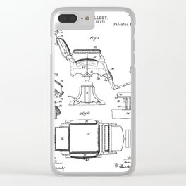 Barbers Chair Patent - Barber Art - Black And White Clear iPhone Case
