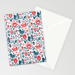 Scandinavian Red Blue Stationery Cards
