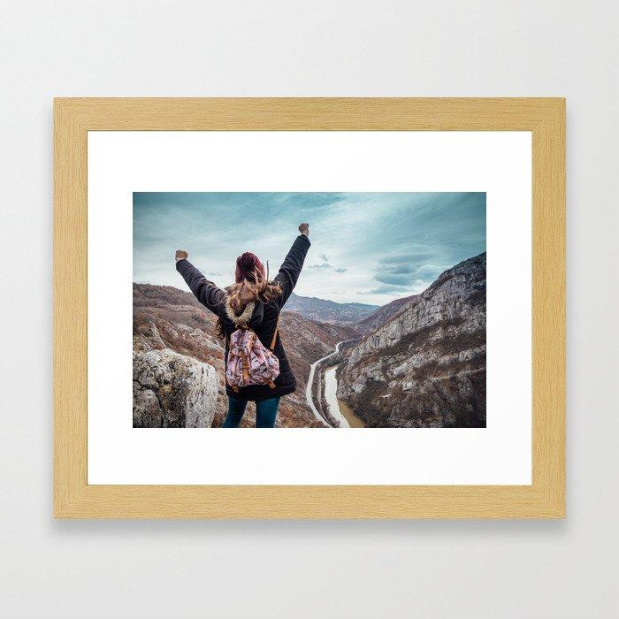 Tourist on the peak of high rocks. Big canyon on Balkan peninsula Framed Art Print