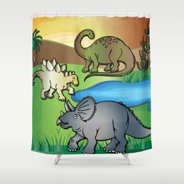 Dinosaurs, Triceratops, Stegosaurus at the Dinosaur water hole by Beebus Marble Shower Curtain