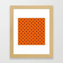 Orange and Black Stars Pattern Framed Art Print
