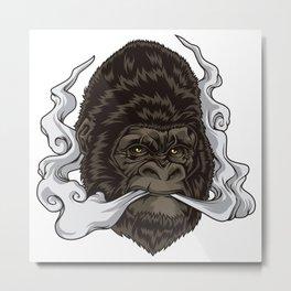 Vaping Gorilla Illustration   Monkey Vape Metal Print