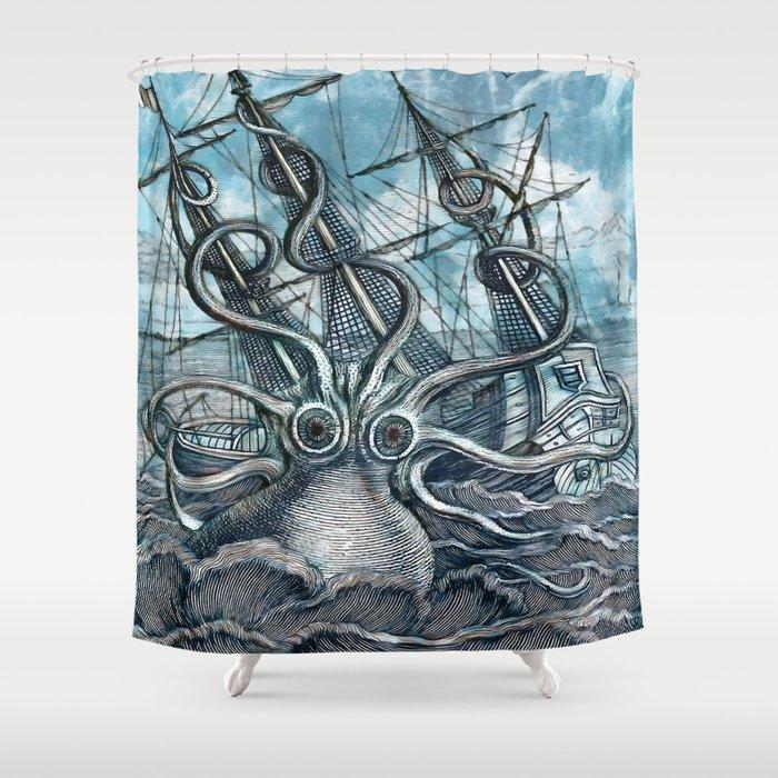 Sea Monster Shower Curtain By Catyarte