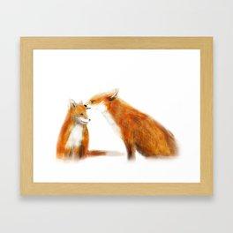 Foxes in love Framed Art Print