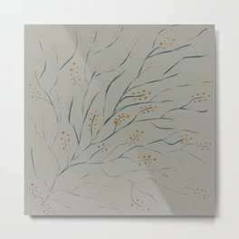 Branches on pale grey green Metal Print