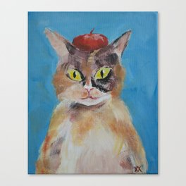 Calico Cat with Beret Canvas Print