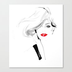 Woman with red lips Canvas Print