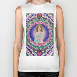 Mother and Child Lotus Mandala Biker Tank