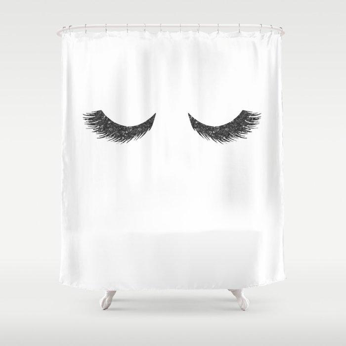 Lashes Black Glitter Mascara Shower Curtain by naturemagick   Society6