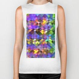 geometric square pixel pattern abstract in purple pink green yellow Biker Tank