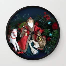 The Night Before Christmas. Santa Claus Arriving with Chistmas Gifts Wall Clock