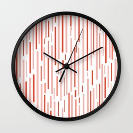 Leitungen Minimalist Pink, Red, and White Interrupted Line Pattern Wall Clock
