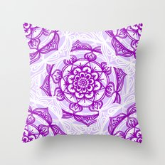 Purple Mandala Outlines Throw Pillow