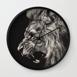 Angry Male Lion Wall Clock