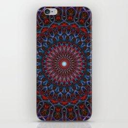 Dark red and blue mandala iPhone Skin