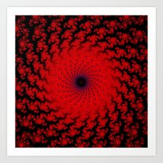 Red Space Spiral Fractal  Art Print